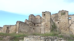 Panning ruins of Ukrainian manor house Stock Footage