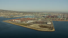 Aerial view of Terminal Island coastal port Los Angeles USA Stock Footage