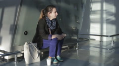 The girl missed her flight and was left alone at the airport. Stock Footage