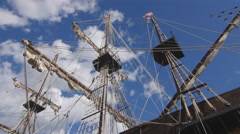 Rigging and masts of Galleon replica docked in Toronto, Canada. - stock footage