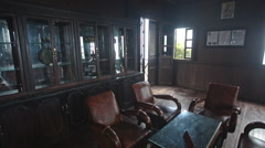 Room In Yersin House Museum with Original Furniture in Vietnam Stock Footage