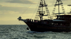 Old wooden ship sailing  at sea in slow motion Stock Footage