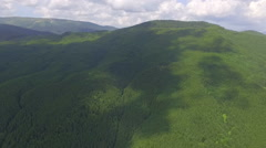 View from the air. beautiful forest in the mountains in summer Stock Footage