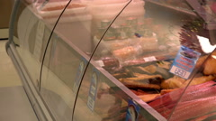 Halibut sockeye salmon Chinook salmon and many other fish in the red shop Stock Footage