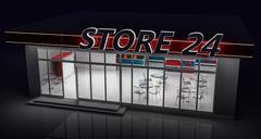 3D illustration of a 24-hour store at night - stock illustration