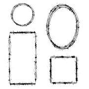 Set of Different Ink Frames. Distressed Shapes Stock Illustration