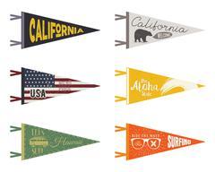 Set of adventure pennants. Pennant travel flags design. Vintage surf, caravan Stock Illustration