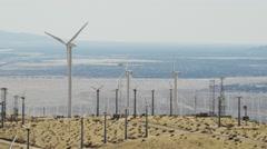 Aerial sunrise view of a wind turbine farm Palm Springs USA Arkistovideo