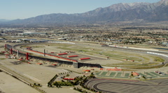 Aerial view Fontana Auto Club Speedway Southern California USA Stock Footage