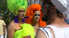 Participants in the Drag Queen competition during the Gay pride parade. - stock footage
