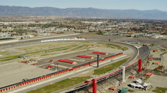 Aerial view Fontana Auto Club motorsport track Southern California USA Stock Footage