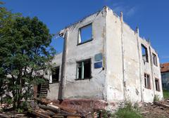 old destroyed house in Russia - stock photo