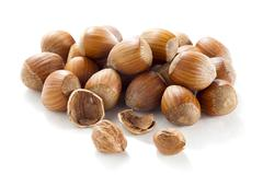 Group of hazel nuts Stock Photos