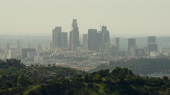 Aerial view at sunrise of downtown skyscrapers Los Angeles Stock Footage