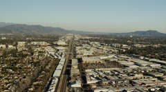Aerial view of Amtrak Railway Station in suburban Los Angeles California Arkistovideo