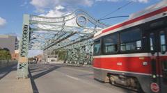 Queen Street bridge that crosses the DVP in Toronto, Canada. Stock Footage