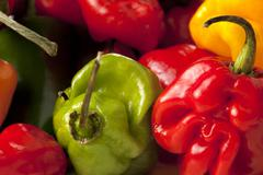 Pile of chili peppers close up Stock Photos