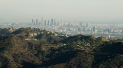 Aerial view from Hollywood Hills of Los Angeles city skyline California Stock Footage