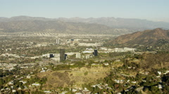 Aerial view of Burbank and Studio City Los Angeles USA Stock Footage