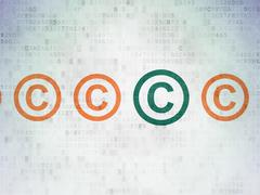 Law concept: copyright icon on Digital Data Paper background Stock Illustration