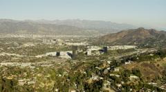 Aerial view of suburban Burbank and Studio City Los Angeles USA Stock Footage