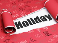 Vacation concept: black text Holiday under the piece of  torn paper - stock illustration