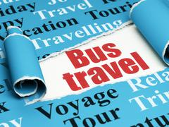 Tourism concept: red text Bus Travel under the piece of  torn paper Stock Illustration