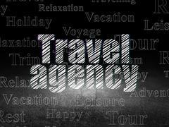 Vacation concept: Travel Agency in grunge dark room - stock illustration