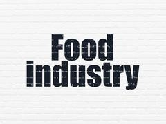 Manufacuring concept: Food Industry on wall background Stock Illustration