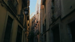 Barcelona, Spain - Old houses in the Gothic Quarter of Barcelona Stock Footage
