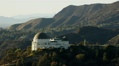 Aerial view of Griffith Park Observatory Los Angeles Stock Footage
