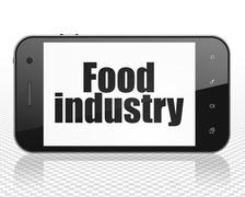 Manufacuring concept: Smartphone with Food Industry on display - stock illustration