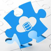 Programming concept: Database With Cloud on puzzle background - stock illustration