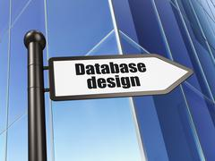 Programming concept: sign Database Design on Building background - stock illustration