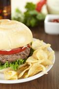 White plate with hamburger and chips Stock Photos