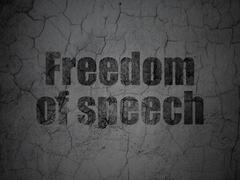 Politics concept: Freedom Of Speech on grunge wall background - stock illustration
