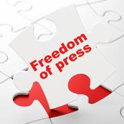 Politics concept: Freedom Of Press on puzzle background - stock illustration