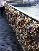 Locks of love. Symbol of lovers. Many locks on the bridge. Stock Photos