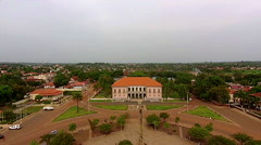 Aerial shot of the president palace of government of Guinea Bisseau Stock Footage