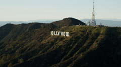 Aerial view of Hollywood sign Hollywood Hills California Stock Footage