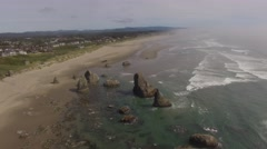 Aerial Bandon, Origon - Face Rock State Scenic Viewpoint Stock Footage