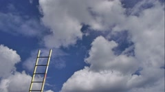 Cloudy blue sky passes behind builders ladder Stock Footage