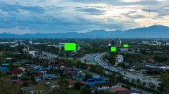 Top view of highway at night with green screen billboard  - stock footage