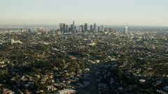 Aerial distant view of tall skyscraper buildings Los Angeles USA Stock Footage
