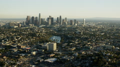 Aerial view of suburban housing and skyscrapers Los Angeles Stock Footage