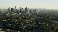 Aerial sunset view of skyline downtown Los Angeles California Stock Footage