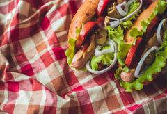 Hotdogs with fresh salad and tomatoes on checkered napkin Stock Photos