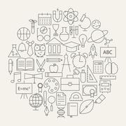 School and Education Line Science Icons Set Circular Shaped - stock illustration