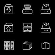 Vector line archive icon set Stock Illustration