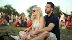Couple enjoying afterwork summer party Stock Footage